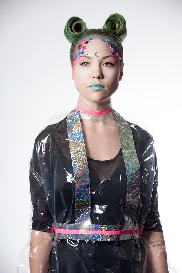 Halloween costumes makeup hair alien kitsch 1980s cartoon anime cosplay  80s fantasy space queen Dosha Salon Spa Creative Team makeup artist hairstylist costume DIY