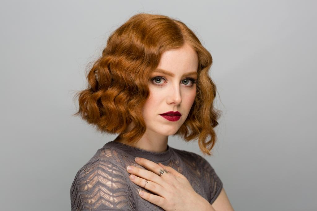 hair, makeup, style, photoshoot, fingerwaves, student work, red hair