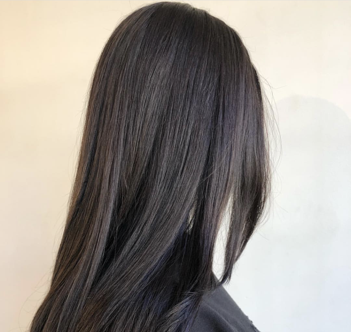dark hair, brunette, sleek, smooth, silky, style, student work, natural hair, aveda, institute