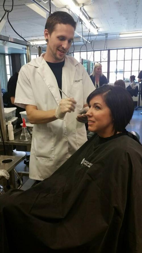 Instructor doing hair