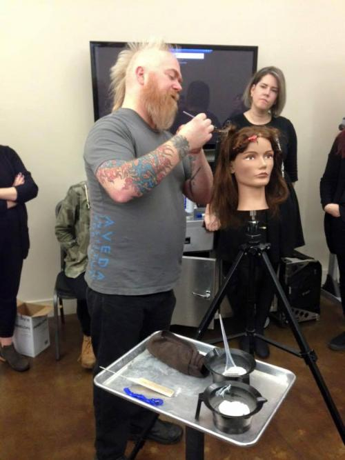 Instructor Brian doing hair