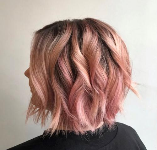 bob. haircut, pink hair, trends, aveda, student, work